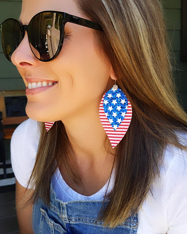 Glitter Flag Fringe Feather Earrings