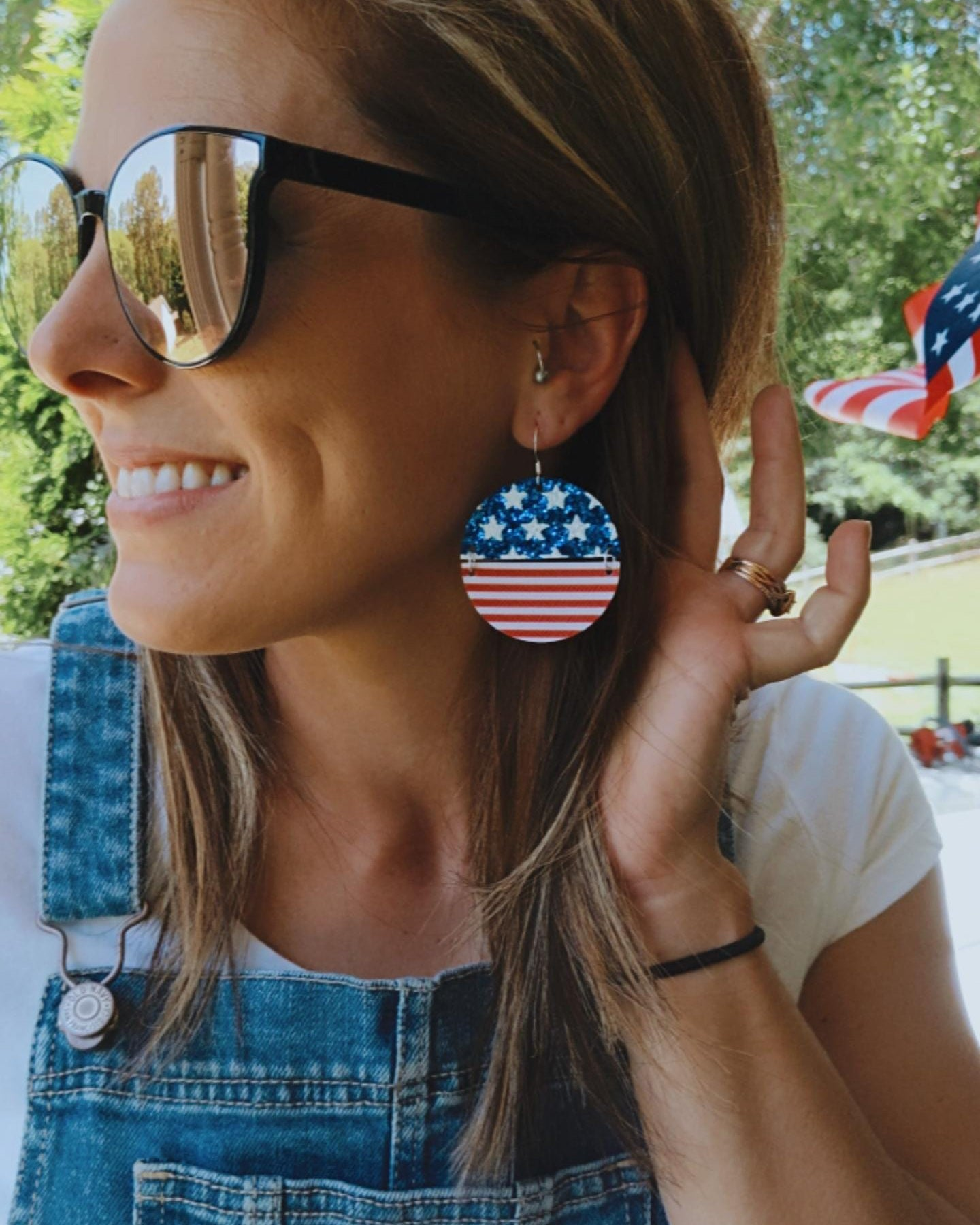 Glitter Flag 2-Toned Disc Earrings