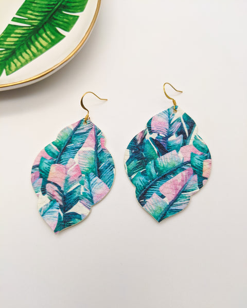 Pink & Blue Palm Leaf Print Moroccan Earrings