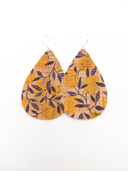 Lemon Print Cork Teardrop Earrings