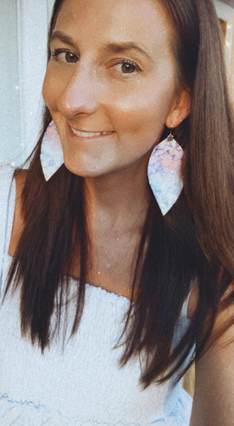 Tie Dye - Purple Summer Fringe Feather Earrings