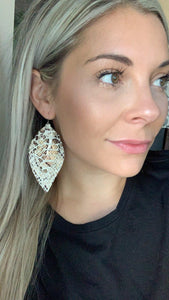 Brown Snakeskin Layered Fringe Feather Earrings