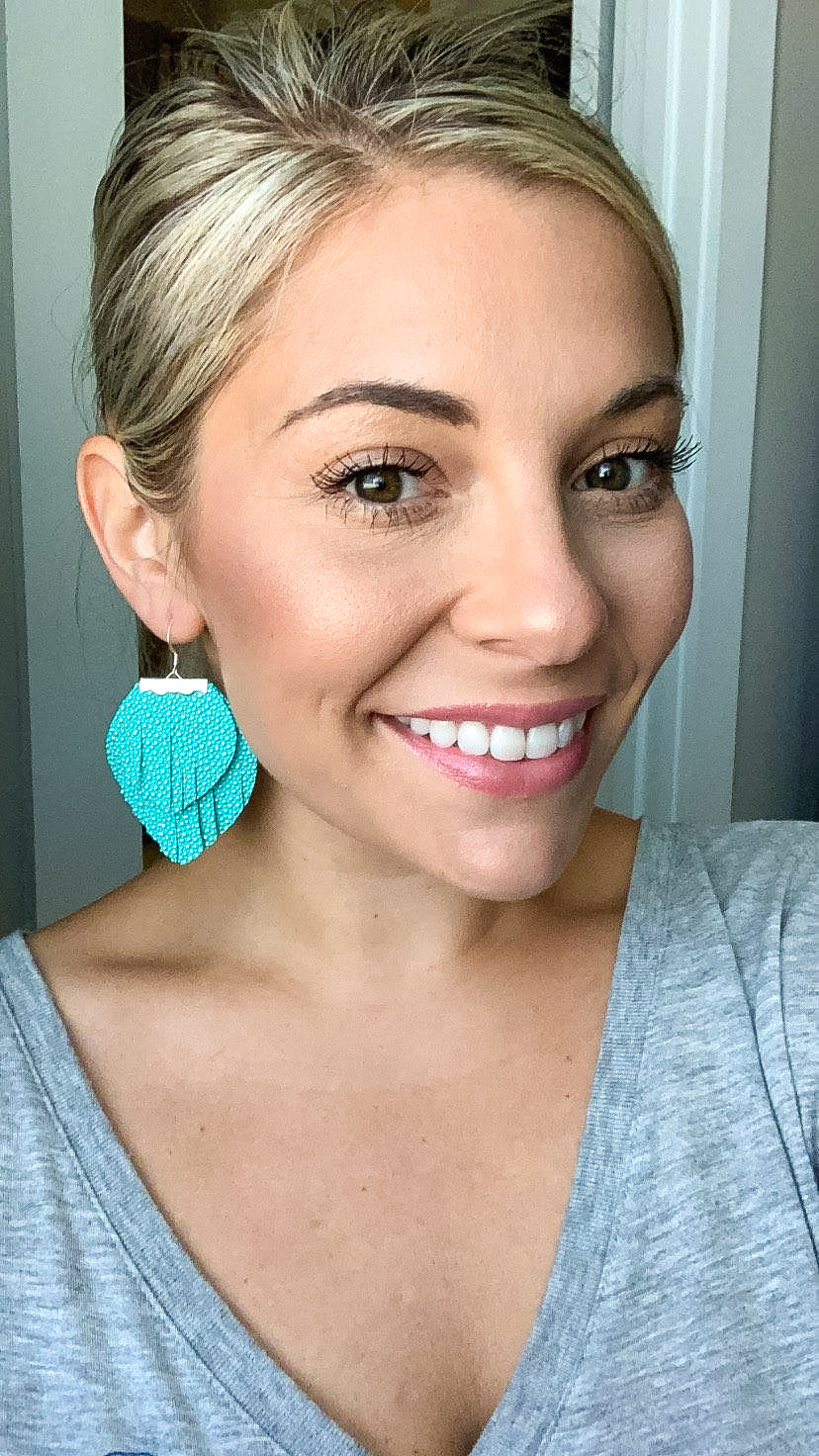 Aqua Textured 2-layer Fringe Earrings