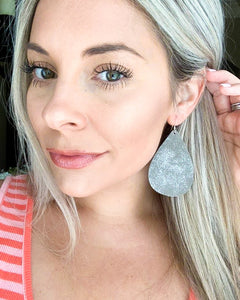 Smokey Grey Suede Teardrop Earrings