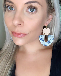 Sophie Earrings in Blue Floral & Champagne