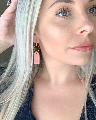 Peachy Pink Mini Tag Earrings