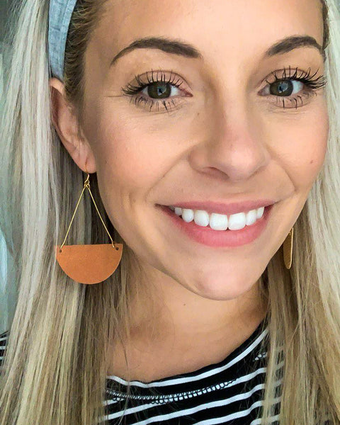 Distressed Tan Triangle Drop Leather Earrings