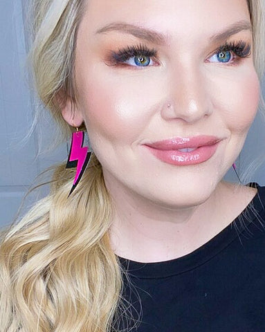 Hot Pink and Black Lightning Bolt Earrings