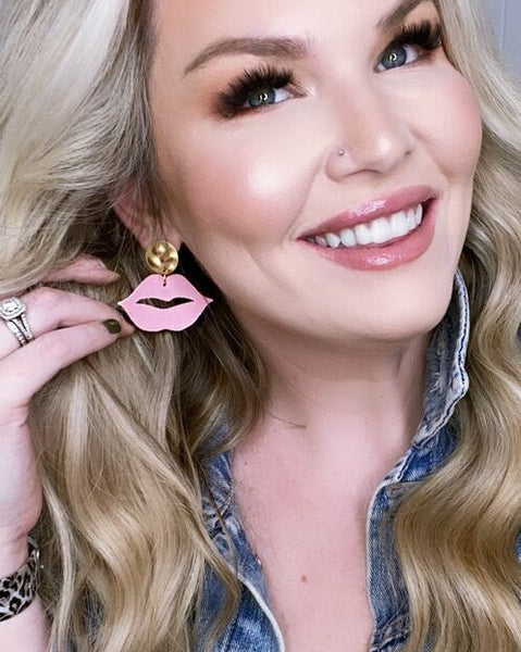 Blush Pink Lip Earrings on Gold Posts