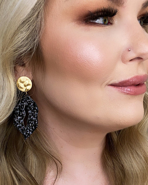 Double Sided Black Glitter and Leopard Lip Earrings