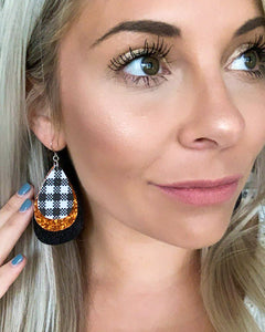 Plaid, Orange Glitter, and Black Shimmer Teardrop Earrings