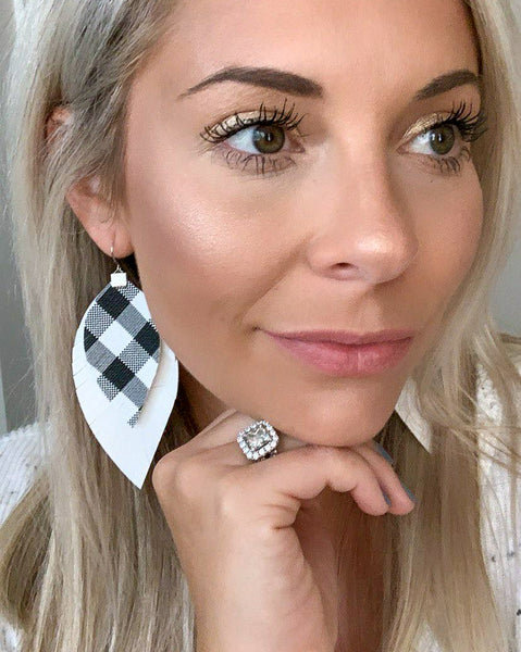 White and Black Plaid over White Fringe Feather Earrings