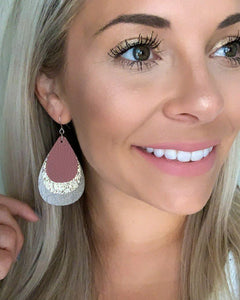 Mauve, Druzy Light Gold, and Gunmetal Teardrops Earrings