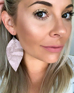 Textured Rose Fringe Feather Earrings