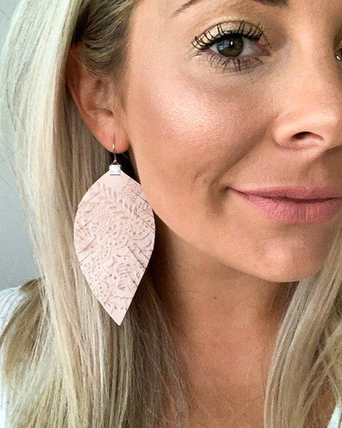 Textured Light Rose Fringe Feather Earrings