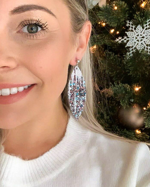 Icicles Inspired Glitter Earrings