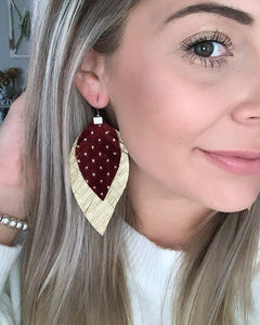 Maroon and Gold Polka Dot Fringe Feather Earrings