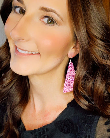 Pink Glitter Rose Print Wedge Earrings