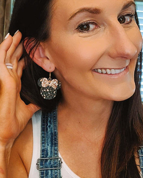 Rose Gold and Black Minnie Head Earrings