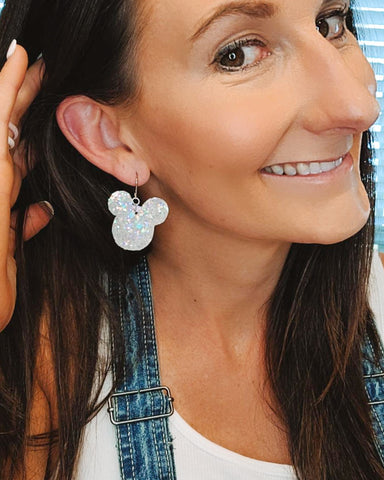 Silver Candy Crush Glitter Mickey Head Earrings