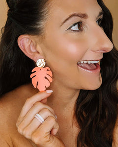 Neon Coral Monstera Leaf Earrings