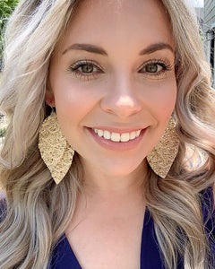 Cream Lace Glitter Fringe Feather Earrings