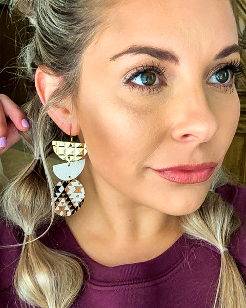 Aztec, White & Gold Trio Stack Earrings