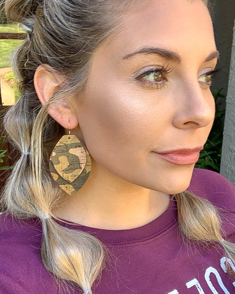 Camo Cork Layered Leaf Earrings
