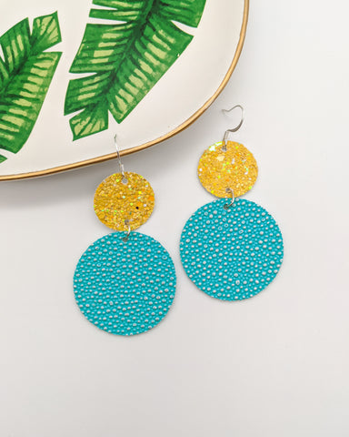 Aqua & Yellow Disc Drop Earrings