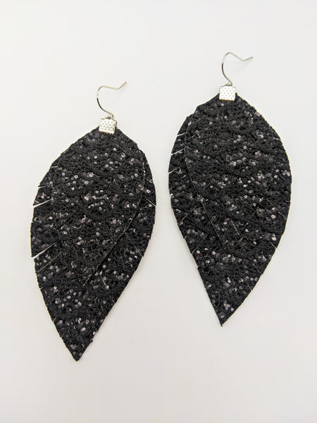 Black Lace Glitter Fringe Feather Earrings