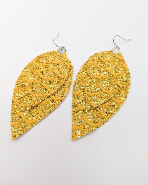 Yellow Lace Glitter Fringe Feather Earrings