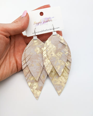 Large Gold Marble Layered Fringe Feather Earrings