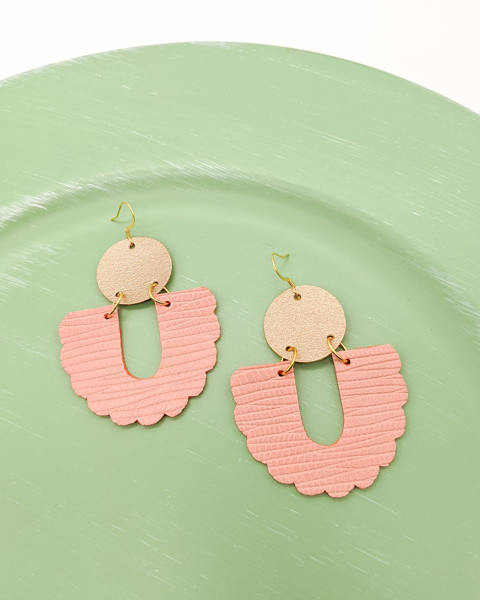 Sophie Earrings in Peachy Pink & Champagne