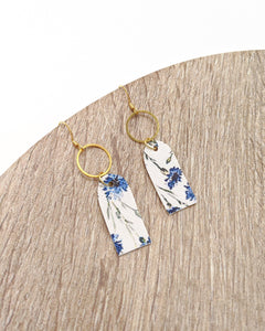 Blue Floral Mini Tag Earrings