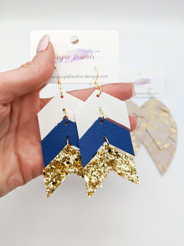 3-Tier Chevron Earrings (silver or gold glitter)