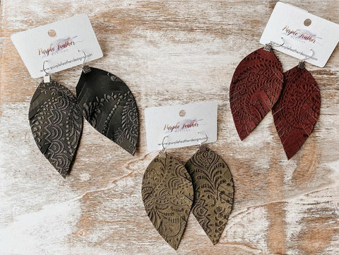 Textured Fringe Feather Earrings
