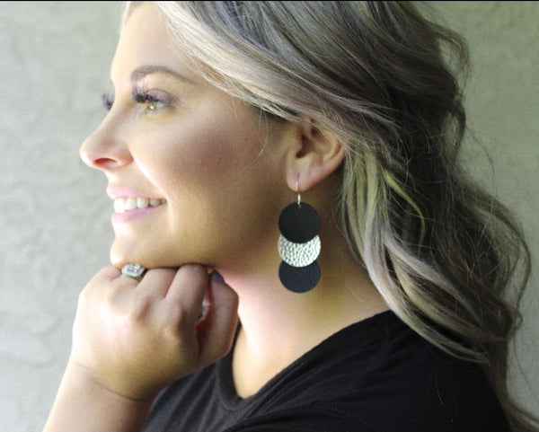 Black & Gold (or Silver) Disc Drop Earrings