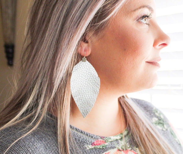 Silver Fringe Feather Earrings