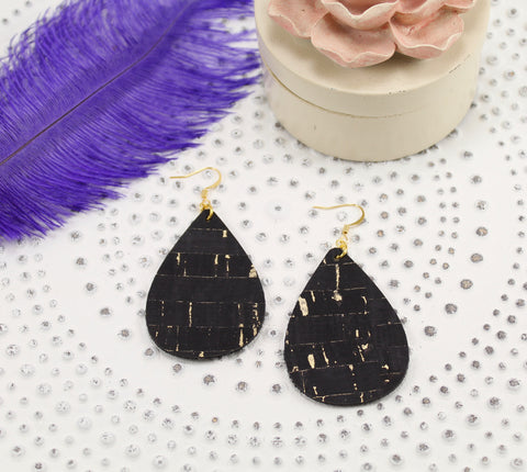 Black Cork w/ Gold Flecks Teardrop Earrings