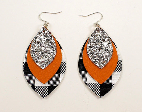 Silver Glitter, Pumpkin Orange & Plaid Earrings