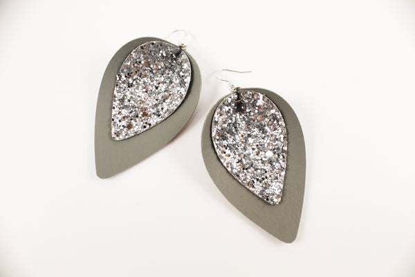 Grey & Silver Glitter Pinched Petal Earrings