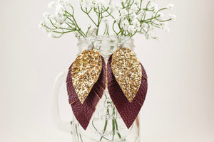 Maroon & Gold Glitter Fringe Feather Earrings