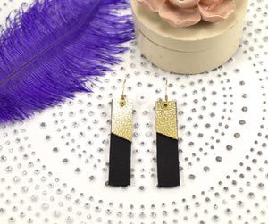 Black & Gold Layered Bar Earrings