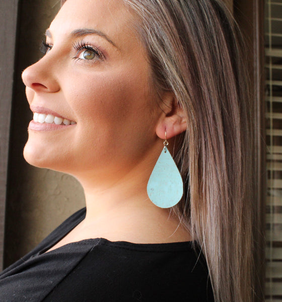 Sky Blue Cork Teardrop Earrings
