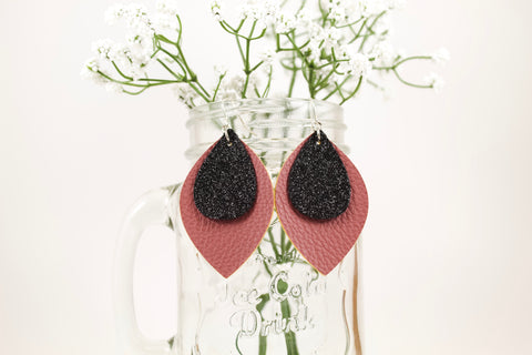 Mauve & Black Shimmer Oval Leaf Earrings