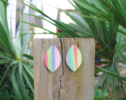 Bright Rainbow Stripe Leaf Earrings