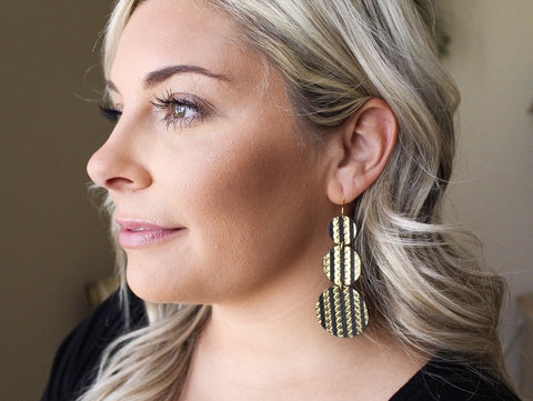 Black and Gold Stripe Tiered Disc Earrings