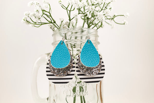 Aqua, Silver Glitter & Stripes Teardrop Earrings