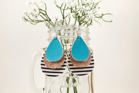 Aqua, Champagne Shimmer & Stripes Teardrop Earrings