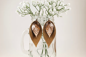 Rustic Brown & Crackle Mocha Pinched Feather Earrings